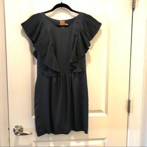 ALI RO Beautiful Navy Silk Dress with Ruffles sz 6